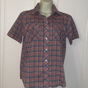 Vtg 80s Esquel pink plaid short sleeved shirt